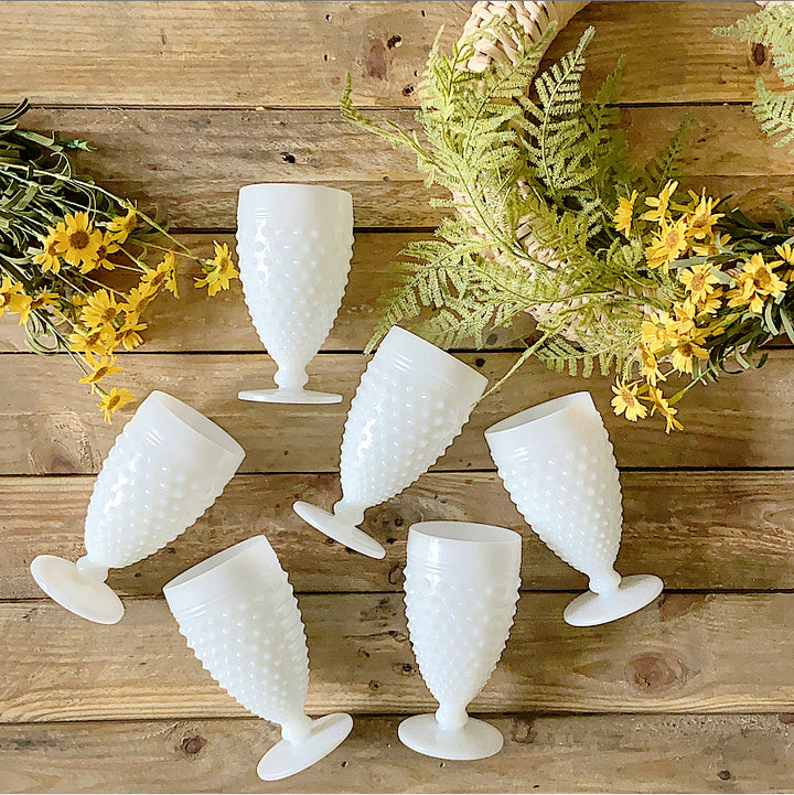 Vintage Hobnail Milk Glass Goblet Drinking Glasses - Clover Market
