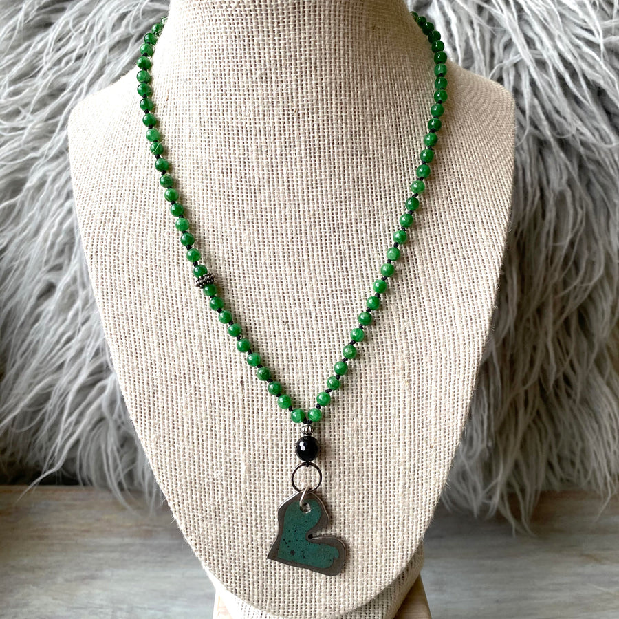 Green Metal Heart Necklace