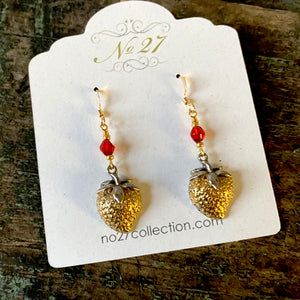 Vintage Strawberry Earrings - OOAK
