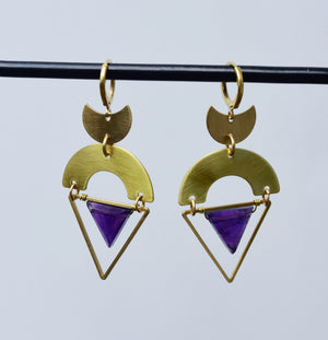 Amethyst Geometric Crescent Moon Earrings