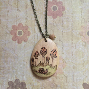 Toadstools In The Forest Necklace - OOAK
