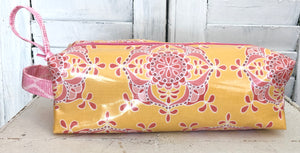 Pencil Case- Yellow & Pink Medallion