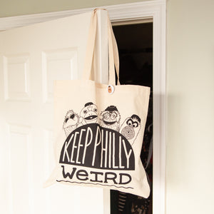 Keep Philly Weird hand-printed tote bag