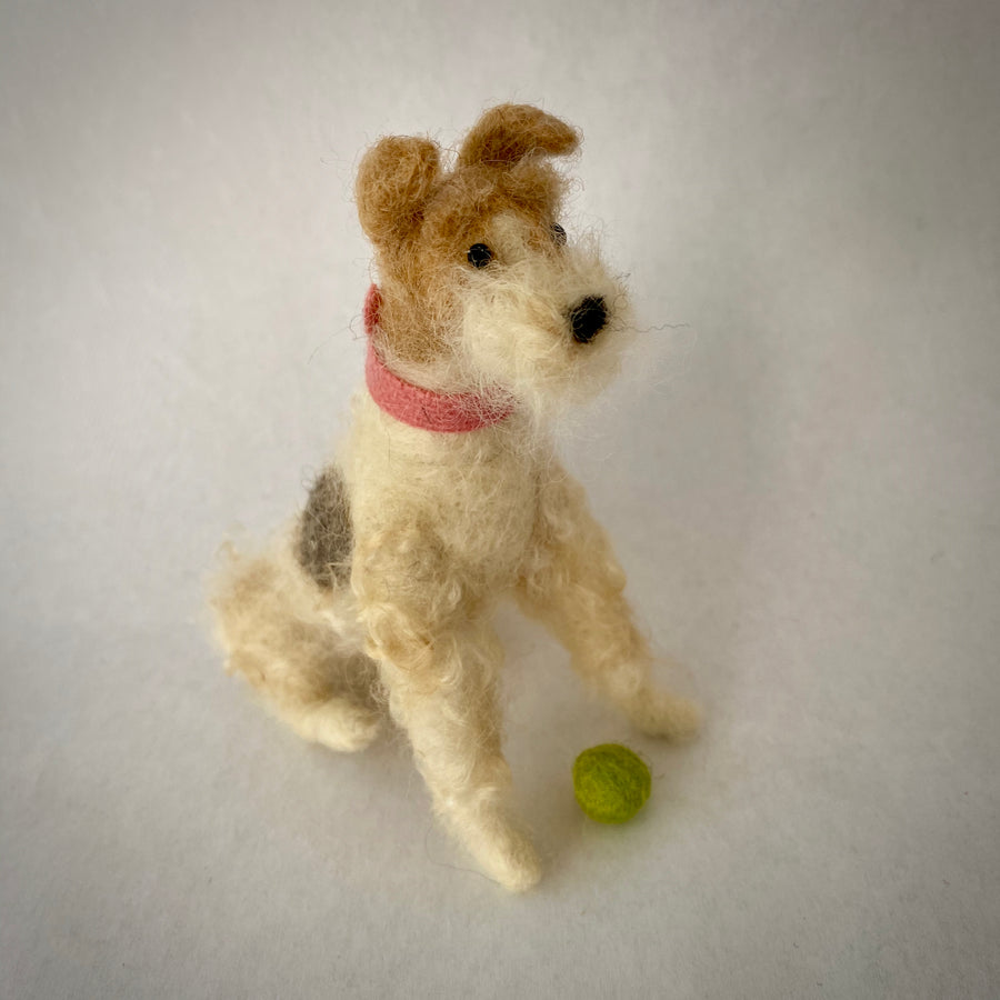 Needle Felted Wire Hair Fox Terrier Dog - OOAK