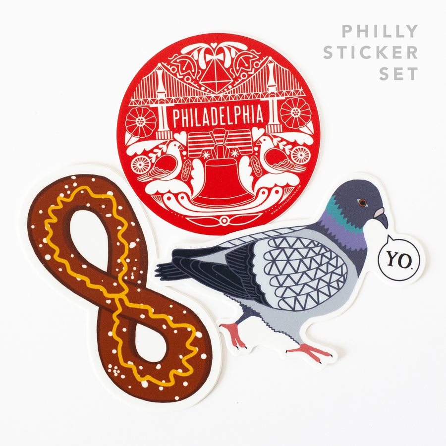 Philadelphia sticker set- pigeon, soft pretzel, and Philly icons