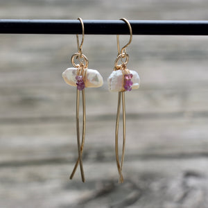 Pearl and Sapphire Gold Tail Earrings (multiple options)