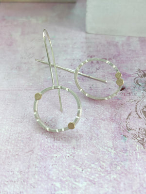 Asymmetrical Sterling Silver and Gold Earrings - Exclusive