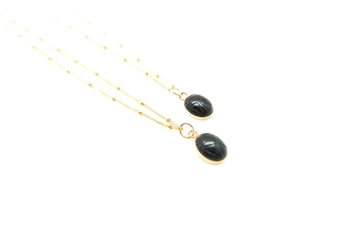 Onyx Scarab Protection Necklace - Clover Market