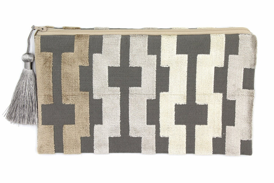 Gray Geometric Clutch - Clover Market