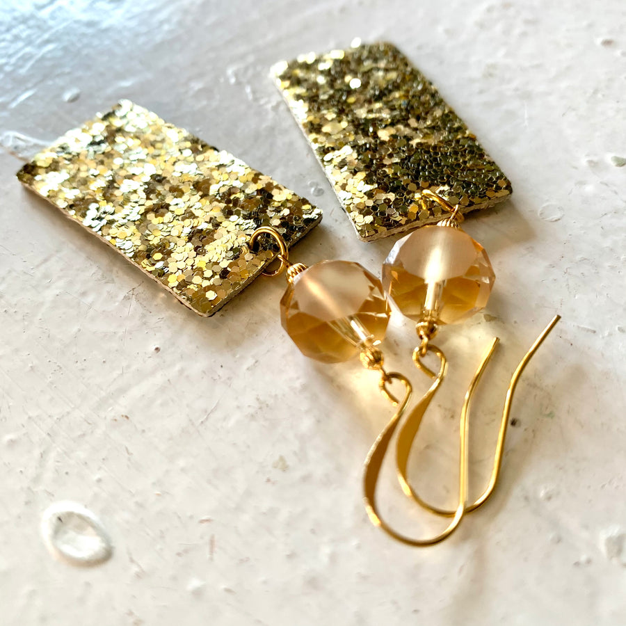 Holiday Ready Gold Glitter Earrings - Exclusive