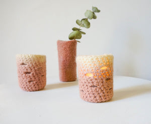 Hand-crocheted Candle Holder - blush - Exclusive