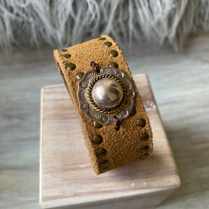 Suede Studded Cuff - OOAK