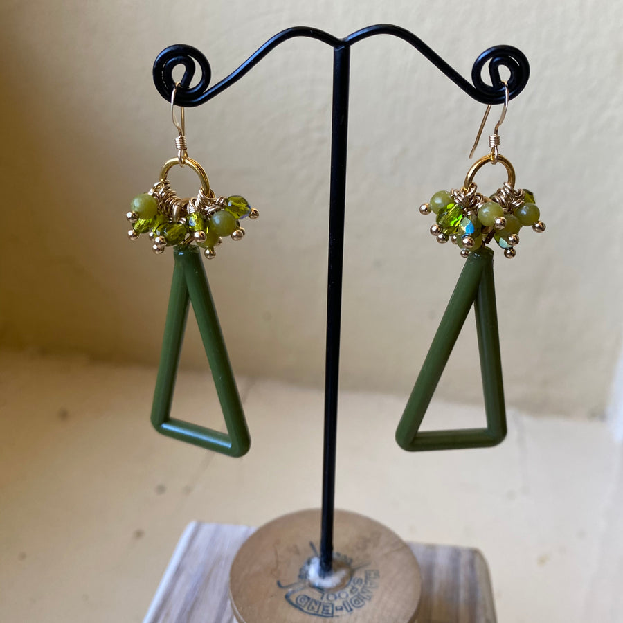 Vintage Triangle Earrings -OOAK