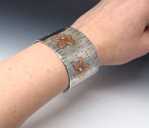 Mixed Metal Flower Cuff Bracelet Handcrafted with Handsawn Flowers and Hammered Texture