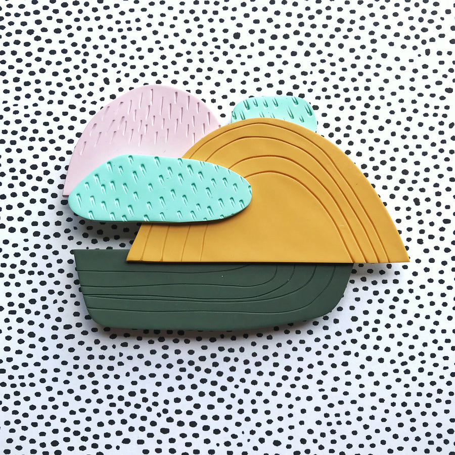 Sierra No 1 - pink, green, teal, and mustard wall decor