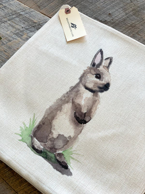 Curious Grey Bunny Pillow Case