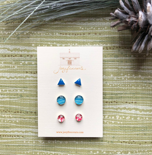 studs multipack - patterned brights red/blue.