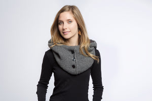 Alpaca Hooded Scarf (Charcoal)