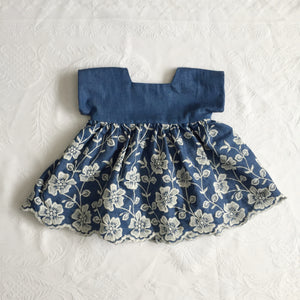 Denim Blue Embroidered Baby Dress | Exclusive