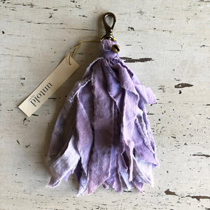 Torn Cotton Tassel Clips in shades of Pink & Purple