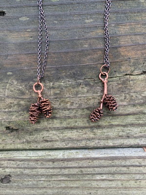 Copper Electroformed Double Pine Cone Necklace - Exclusive
