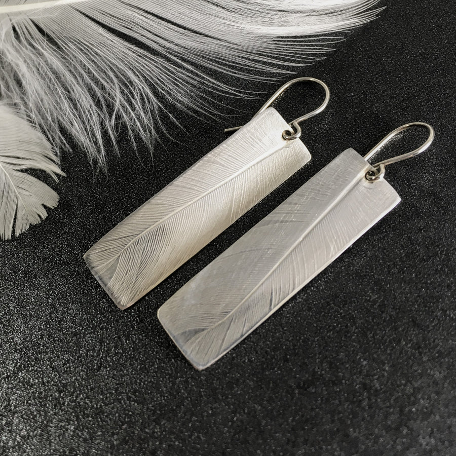 Sterling Nature Impression Earrings, Feather or Fern