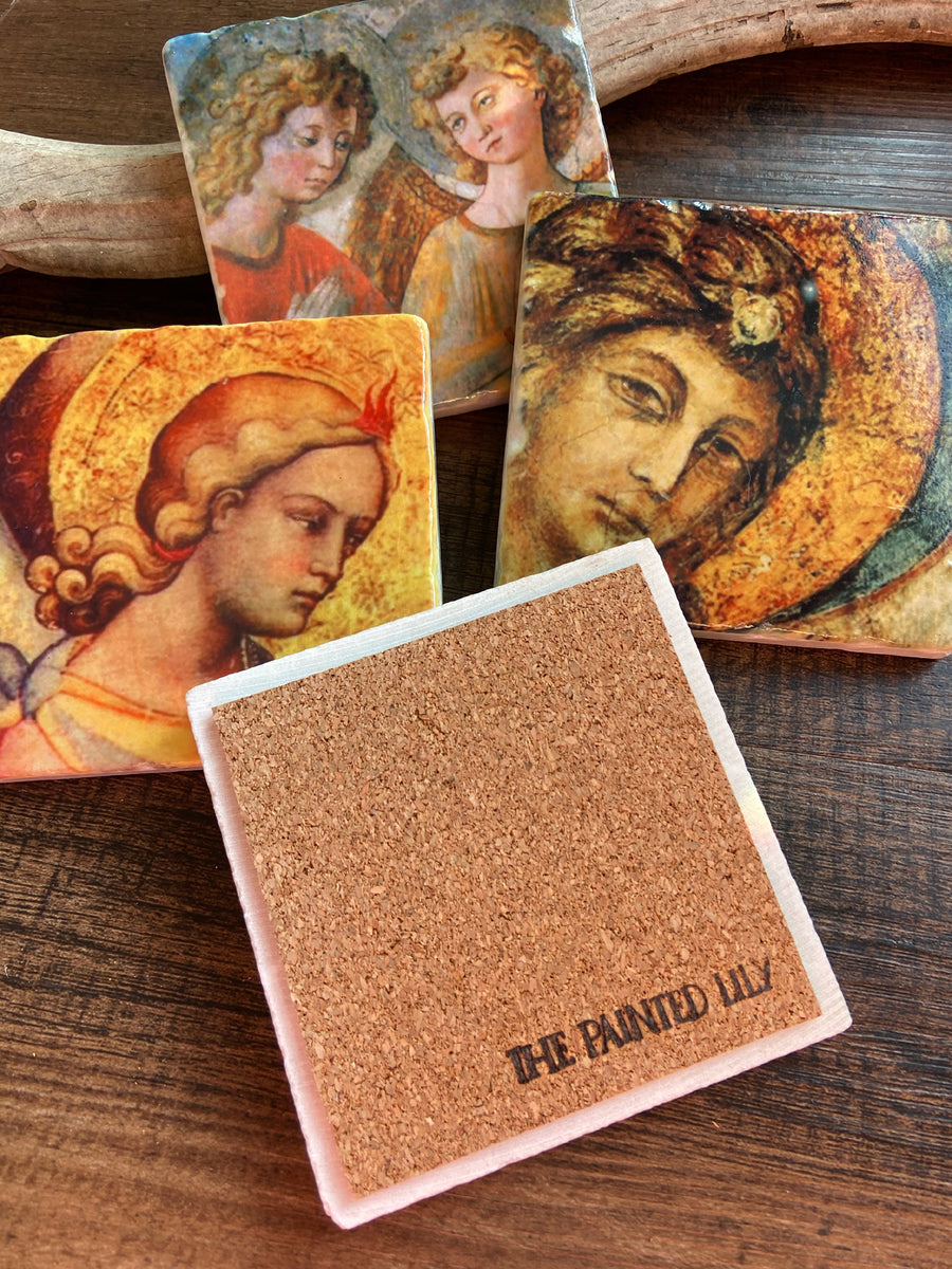 Golden Angel stone coaster set