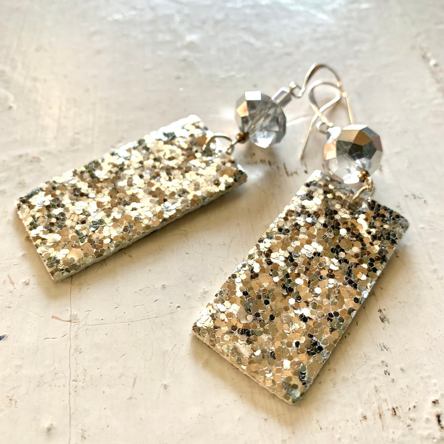 Holiday Ready Silver Glitter Earrings - Exclusive