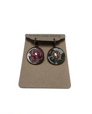 1991 United Kingdom Rose - Postage Stamp Earrings