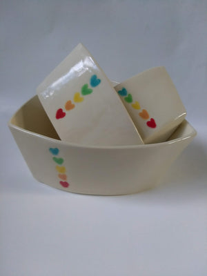 Nesting bowls - set of 3 with rainbow hearts