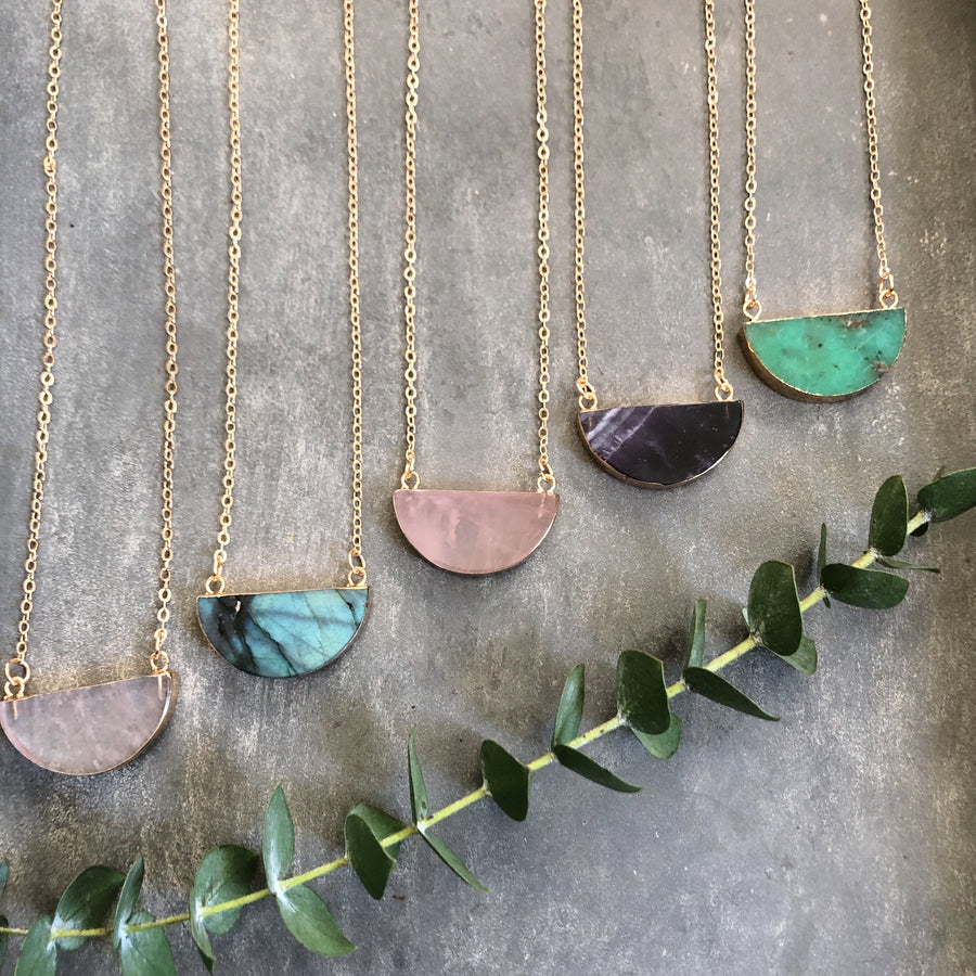 Gem Moon Necklace- Half Moon Gemstone & 14K Gold Plated Chain