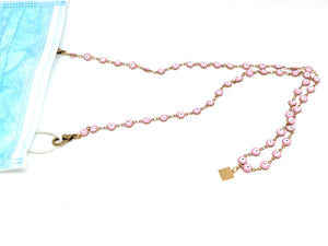Evil-Eye Enameled Mask Chain (Pink & Navy) - Clover Market