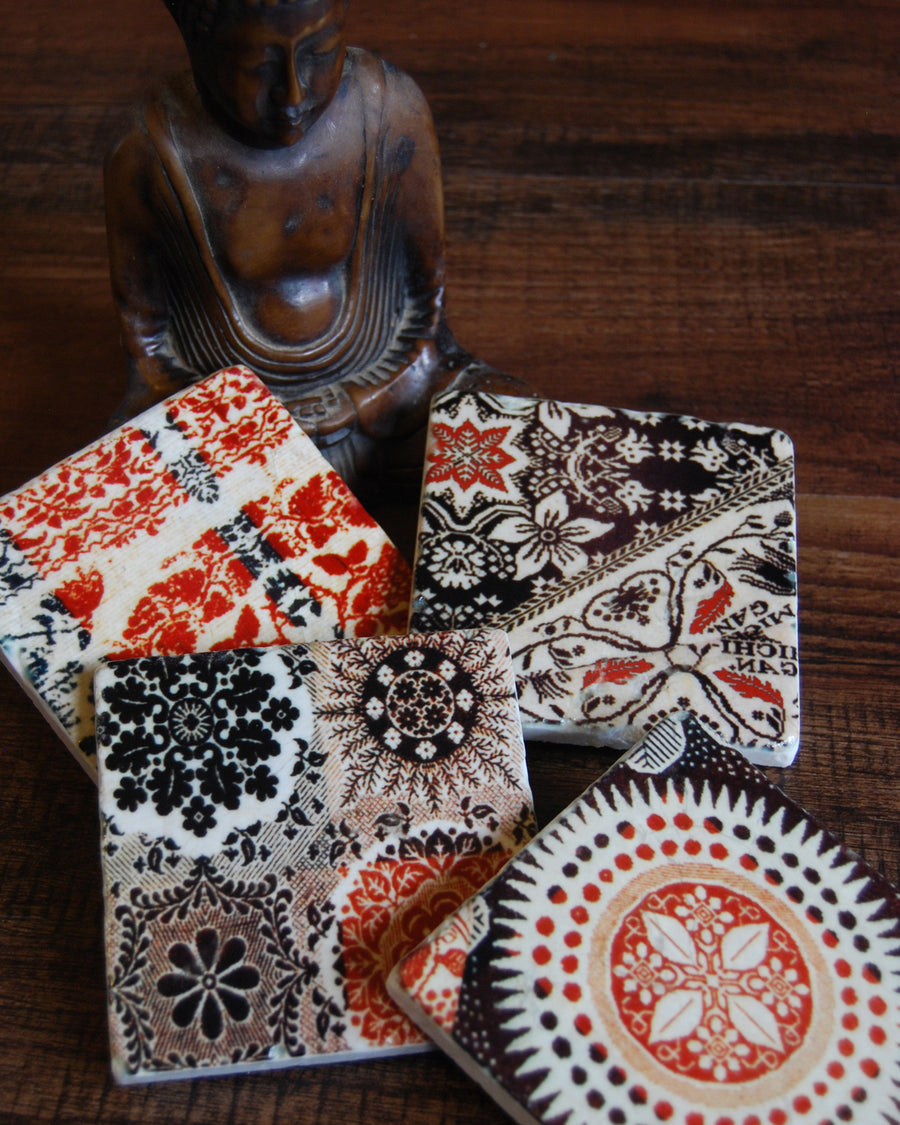 Brown Tapestry stone coaster set