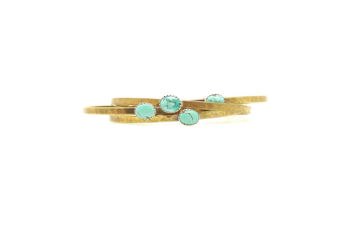 Turquoise Everyday Brass Cuff - Clover Market
