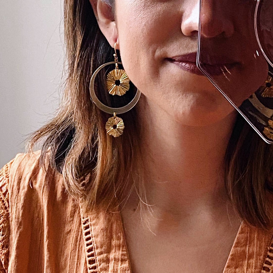 Here comes the Sun ~ Brass Earrings