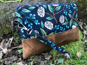 Peony Clutch / Handmade Cotton and Waxed Canvas Wristlet