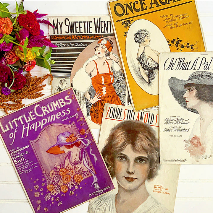 Collection of Antique 1920's Sheet Music Roaring Twenties Women - Clover Market