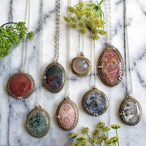 honeycomb gemstone pendants (asst'd).