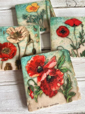 Garden Party stone coaster set - Clover Market