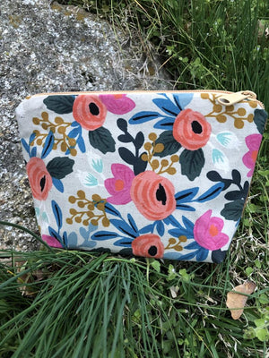 Tan Floral Canvas Pouch / Handmade Cosmetic, Toiletry, and Small Item Bag