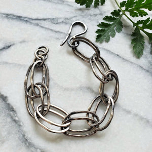 hand-forged chunky sterling chain bracelet