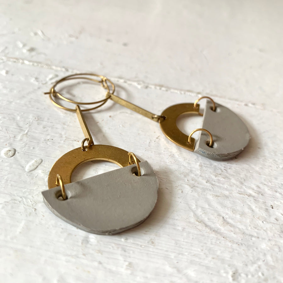 Mod Raw Brass Upcycled Vinyl Drops on Hoop Earrings - Clover Market