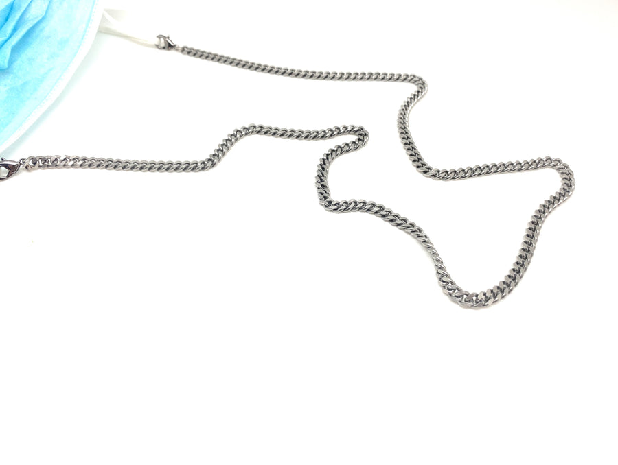 Curb-chain Mask Chain (Silver or Antiqued Brass) - Clover Market