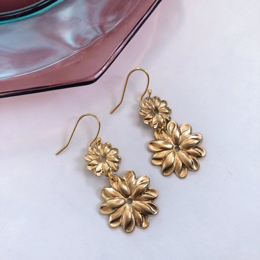 Daisies Earrings ~ Brass