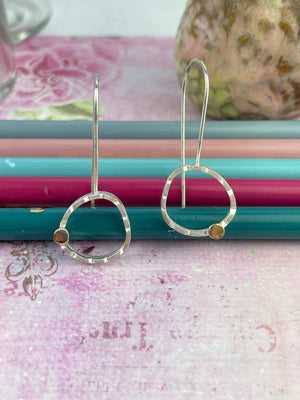 Small Asymmetrical sterling Silver and Gold Earrings