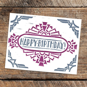 Set of 5 Letterpress Greeting cards - Geometric Birthday Cards - blank inside