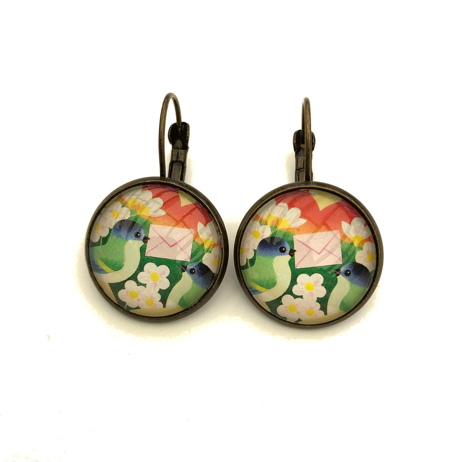 1993 Love Bird Estonian Stamp Earrings