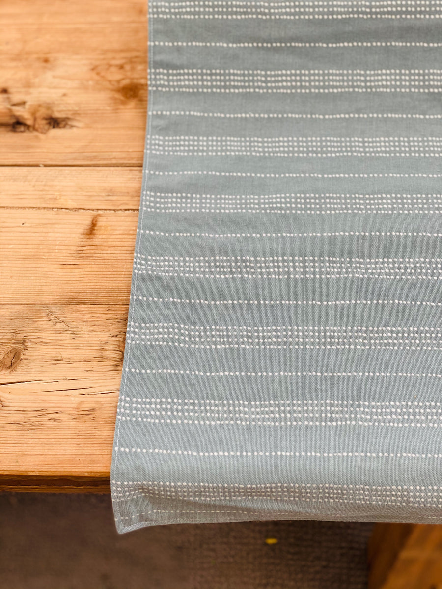 Table Runner - Eggshell Blue with White dotted lines