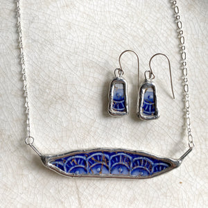 Antique Broken China Flow Blue Earrings