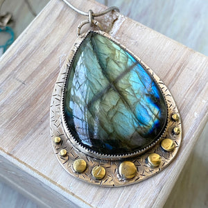Large Labradorite Drop Necklace - OOAK